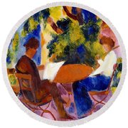 At The Garden Table Round Beach Towel by August Macke