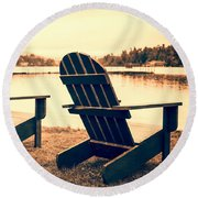 At The Lake Square Format Round Beach Towel