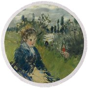 At The Meadow. Vetheuil Round Beach Towel