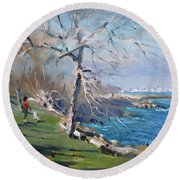 At The Park By Lake Ontario Round Beach Towel