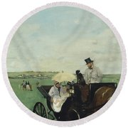 At The Races In The Countryside Round Beach Towel