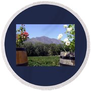 At The Rickety Bridge Winery Round Beach Towel by Barbie Corbett-Newmin