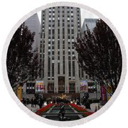 At The Rockefeller Center Round Beach Towel
