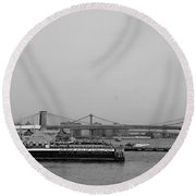 At The Same Moment In Black And White Round Beach Towel