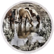 At The Watering Hole 1 Round Beach Towel