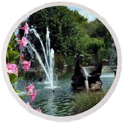 At The Zoo Round Beach Towel
