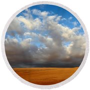 Clouds Over The Atacama Desert Chile Round Beach Towel