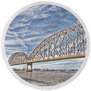 Atchafalaya River Bridge Round Beach Towel