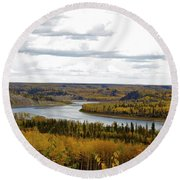 Athabasca Fall Round Beach Towel