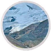 Athabasca Glacier Along Icefields Parkway In Alberta Round Beach Towel