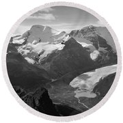 T-303504-bw-athabasca Glacier In 1957  Round Beach Towel