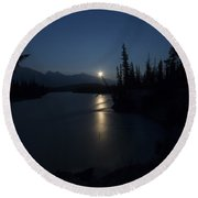 Athabasca River Moonrise Round Beach Towel