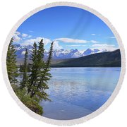 Athabasca River Scenery Round Beach Towel