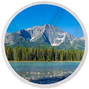 Athabasca River With Mountains Round Beach Towel