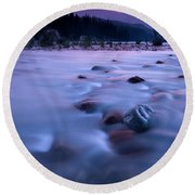 Athabasca Sunset Round Beach Towel