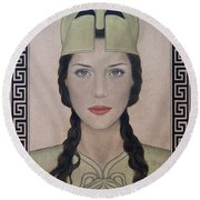 Athena Round Beach Towel by Lynet McDonald