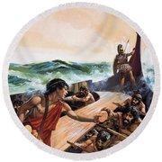 Athenian Trireme Round Beach Towel