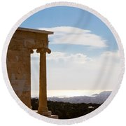 Athens And The Sea From The Acropolis Round Beach Towel