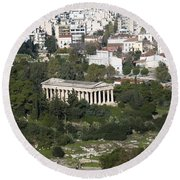 Athens Cityscape  Round Beach Towel