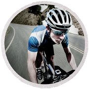 Athletic Male High Speed Cycling Round Beach Towel