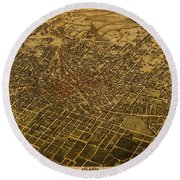 Atlanta Georgia City Schematic Street Map 1892 On Recovered Worn Parchment Paper Round Beach Towel