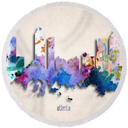 Atlanta Painted City Skyline Round Beach Towel