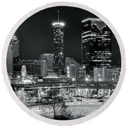 Atlanta Panoramic Black And White Round Beach Towel