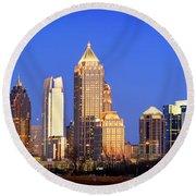 Atlanta Skyline At Dusk Midtown Color Panorama Round Beach Towel