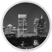 Atlanta Skyline At Night Downtown Midtown Black And White Bw Panorama Round Beach Towel by Jon Holiday