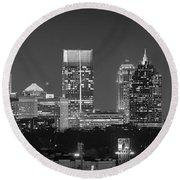 Atlanta Skyline At Night Downtown Midtown Black And White Bw Panorama Round Beach Towel