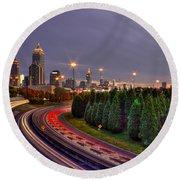 Atlanta Sundown Night Lights Art Round Beach Towel