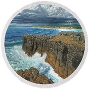 Atlantic Breakers Pontal Portugal Round Beach Towel