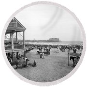 Atlantic City Beach, C1900 Round Beach Towel