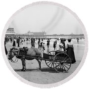 Atlantic City Beach, C1901 Round Beach Towel
