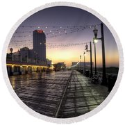 Atlantic City Boardwalk In The Morning Round Beach Towel