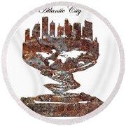 Atlantic City Rusty Skyline Round Beach Towel