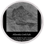 Atlantic Cod Fish Sketch Round Beach Towel
