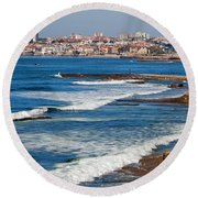Atlantic Ocean Coast In Cascais And Estoril Round Beach Towel