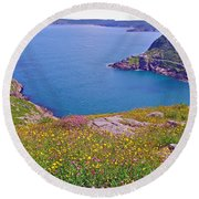 Atlantic Ocean From Signal Hill National Historic Site In Saint John's-nl Round Beach Towel