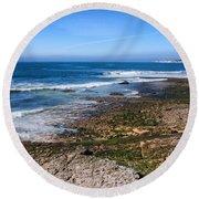 Atlantic Ocean Shore In Estoril Round Beach Towel