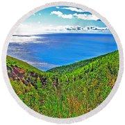 Atlantic Ocean View Point From Cape Breton Highlands National Park-nova Scotia Round Beach Towel