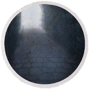 Atmospheric Creepy Arched Tunnel With Cobbled Floor Round Beach Towel