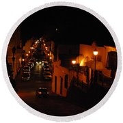 Atop Calle Hostos At Night Horizontal Round Beach Towel