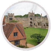 Atop The Castle Wall Round Beach Towel