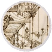 Atrium Of A Palace, In Genes, From Art Round Beach Towel