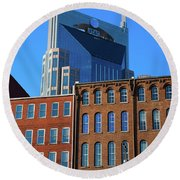 At&t Building And Historic Red Brick Round Beach Towel