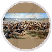Attack Of The Horse Regiment Round Beach Towel by Victor Mazurovsky