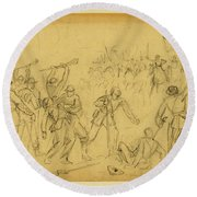 Attack On The Rear Guard. Amelia Ct. Ho. Round Beach Towel
