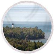 Au Sable Lighthouse Round Beach Towel