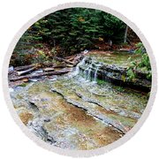 Au Train Falls II Round Beach Towel